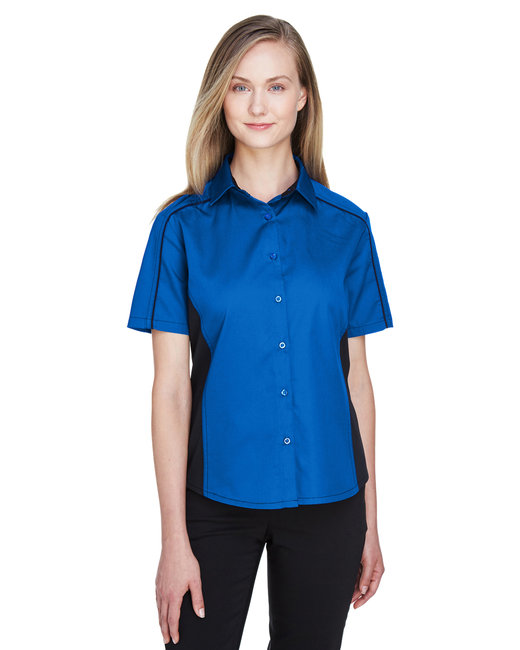 North End Ladies' Fuse Colorblock Twill Shirt - True Royal/ Blk