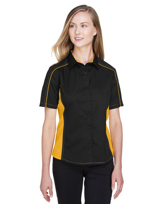 North End Ladies' Fuse Colorblock Twill Shirt - Blk/ Cmps Gold