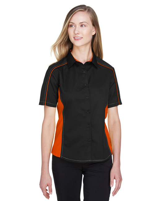 North End Ladies' Fuse Colorblock Twill Shirt - Black/ Orange