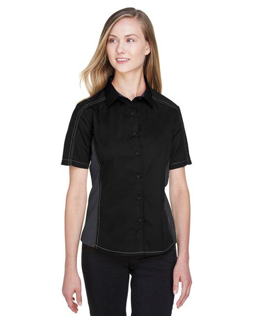 North End Ladies' Fuse Colorblock Twill Shirt - Black/ Carbon