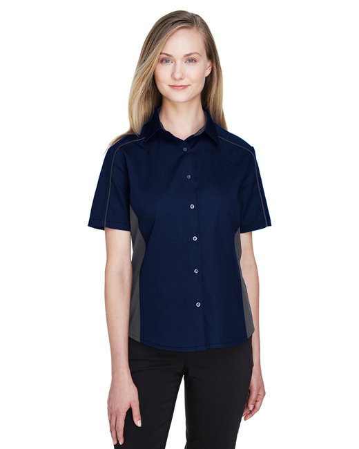 North End Ladies' Fuse Colorblock Twill Shirt - Clasc Navy/ Crbn