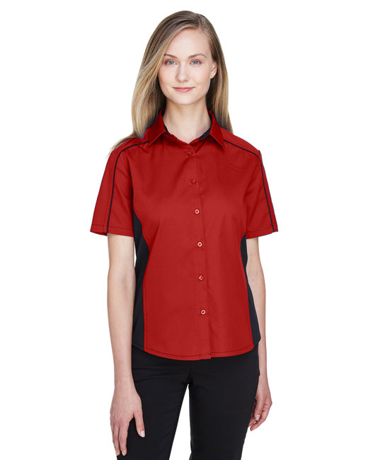 North End Ladies' Fuse Colorblock Twill Shirt - Classic Red/ Blk