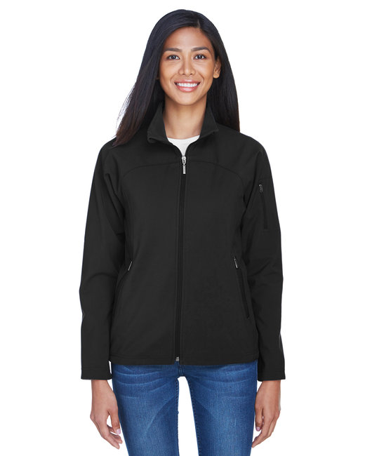 North End Ladies' Three-Layer Fleece Bonded Performance Soft Shell Jacket - Black