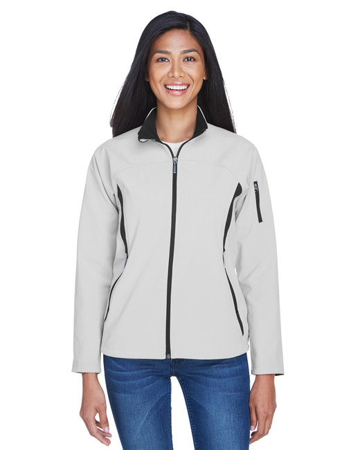 North End Ladies' Three-Layer Fleece Bonded Performance Soft Shell Jacket - Natural Stone