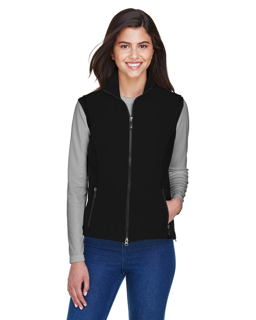 North End Ladies' Three-Layer Light Bonded Performance Soft Shell Vest - Black