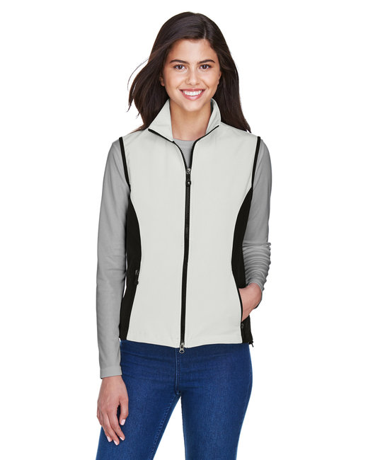 North End Ladies' Three-Layer Light Bonded Performance Soft Shell Vest - Natural Stone