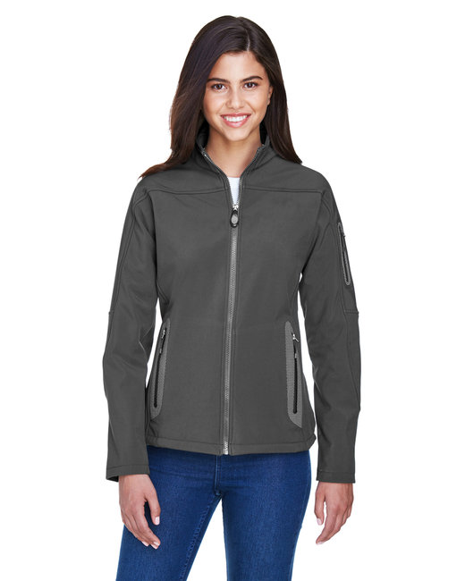 North End Ladies' Three-Layer Fleece Bonded Soft Shell Technical Jacket - Graphite
