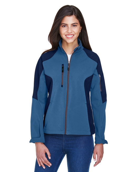North End Ladies' Compass Colorblock Three-Layer Fleece Bonded Soft Shell Jacket - Blue Ridge