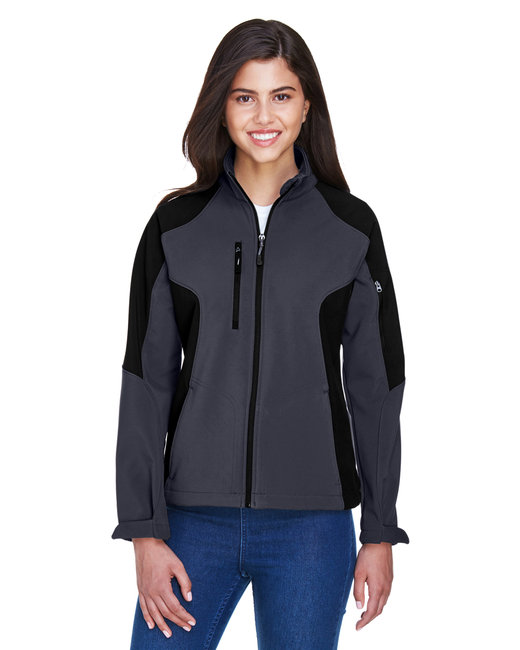 North End Ladies' Compass Colorblock Three-Layer Fleece Bonded Soft Shell Jacket - Fossil Grey