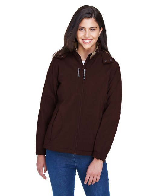 North End Ladies' Glacier Insulated Three-Layer Fleece Bonded Soft Shell Jacket with Detachable Hood - Dark Chocolate