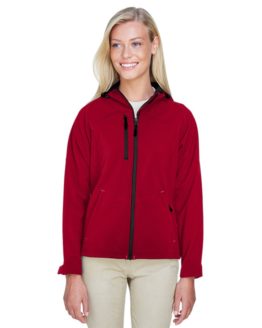 North End Ladies' Prospect Two-Layer Fleece Bonded Soft Shell Hooded Jacket - Molten Red