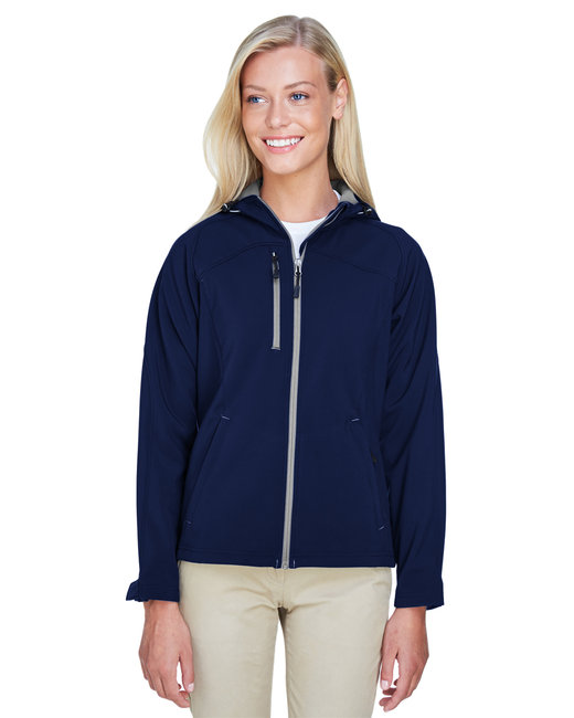 North End Ladies' Prospect Two-Layer Fleece Bonded Soft Shell Hooded Jacket - Classic Navy