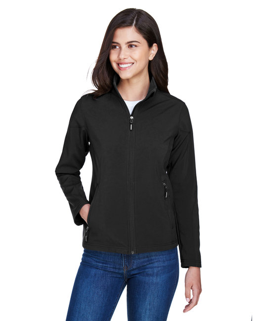 Core 365 Ladies' Cruise Two-Layer Fleece Bonded SoftShell Jacket - Black