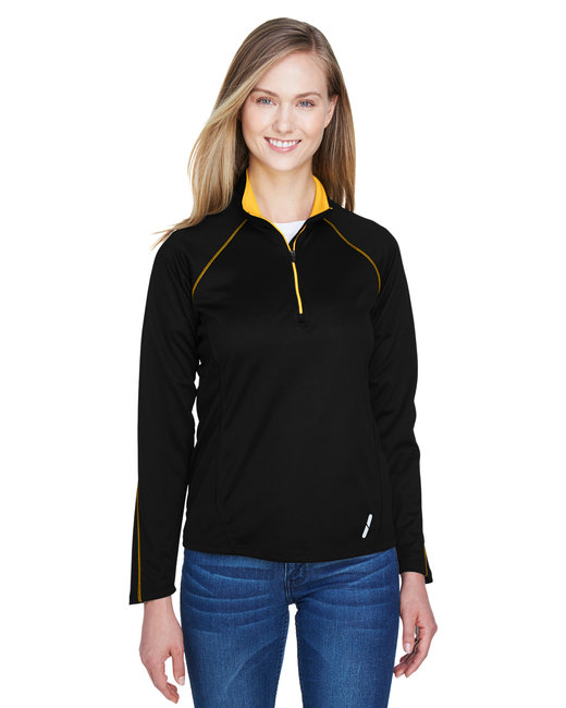North End Ladies' Radar Quarter-Zip Performance Long-Sleeve Top - Blk/ Cmps Gold