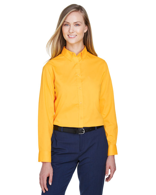 Core 365 Ladies' Operate Long-Sleeve Twill Shirt - Campus Gold