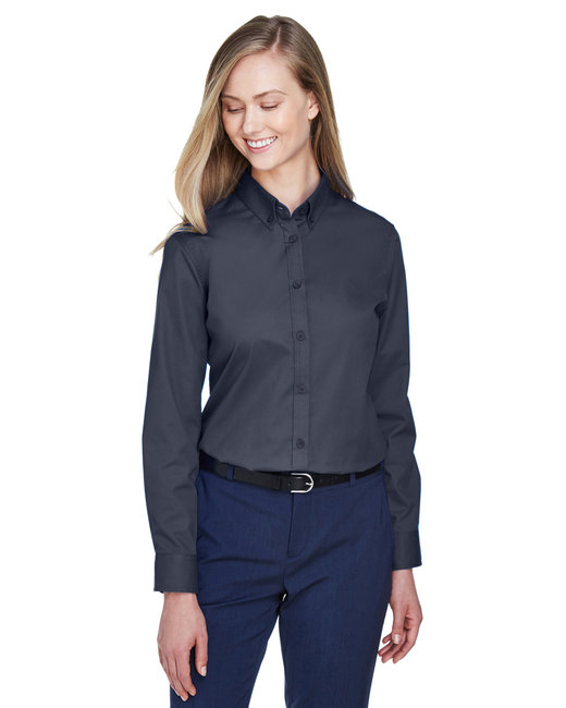 Core 365 Ladies' Operate Long-Sleeve Twill Shirt - Carbon
