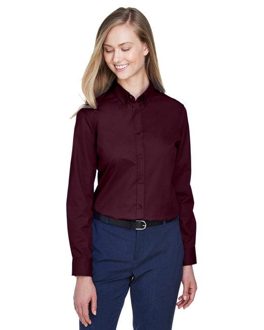 Core 365 Ladies' Operate Long-Sleeve Twill Shirt - Burgundy