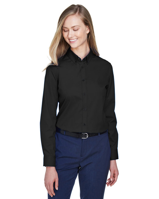 Core 365 Ladies' Operate Long-Sleeve Twill Shirt - Black