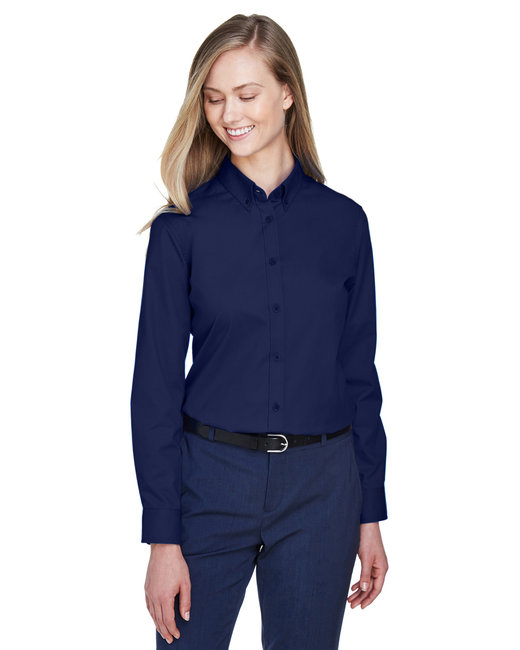 Core 365 Ladies' Operate Long-Sleeve Twill Shirt - Classic Navy