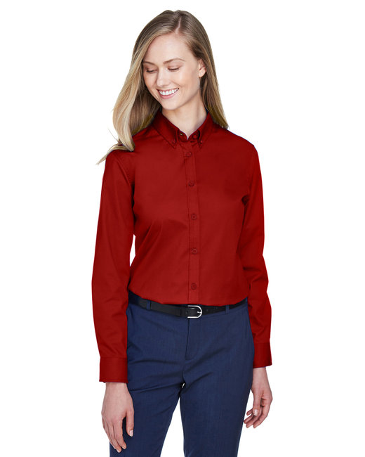 Core 365 Ladies' Operate Long-Sleeve Twill Shirt - Classic Red