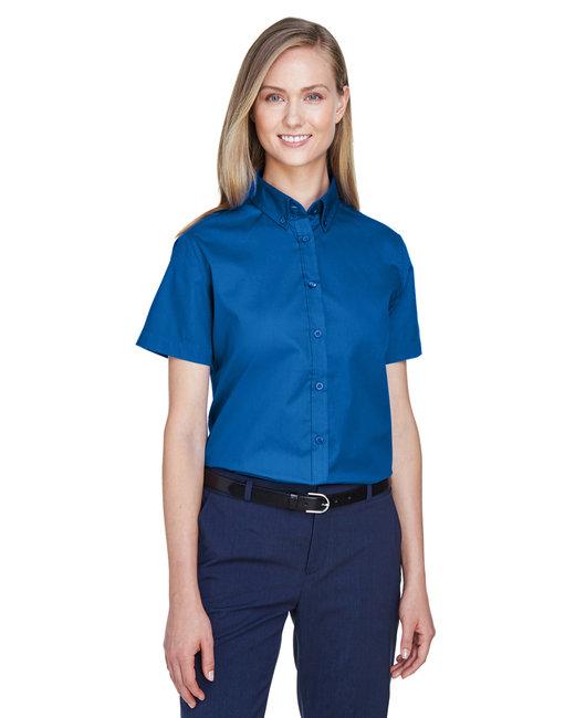 Core 365 Ladies' Optimum Short-Sleeve Twill Shirt - True Royal