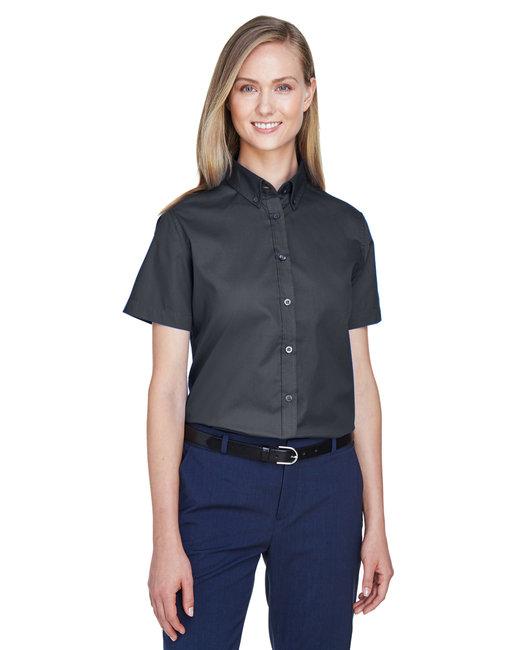 Core 365 Ladies' Optimum Short-Sleeve Twill Shirt - Carbon