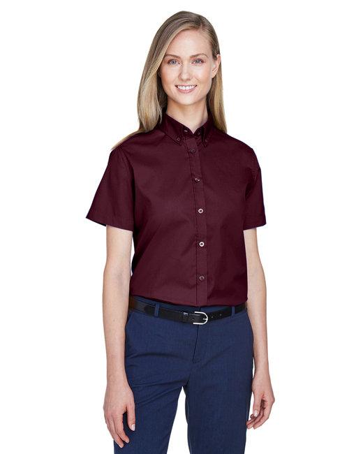 Core 365 Ladies' Optimum Short-Sleeve Twill Shirt - Burgundy