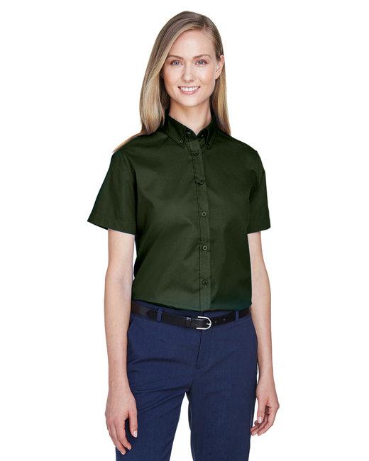 Core 365 Ladies' Optimum Short-Sleeve Twill Shirt - Forest
