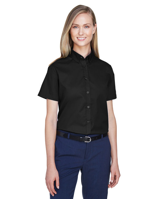 Core 365 Ladies' Optimum Short-Sleeve Twill Shirt - Black