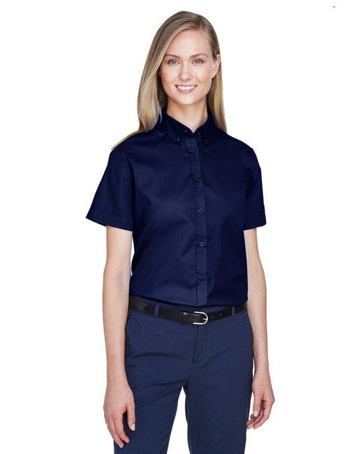 Core 365 Ladies' Optimum Short-Sleeve Twill Shirt - Classic Navy
