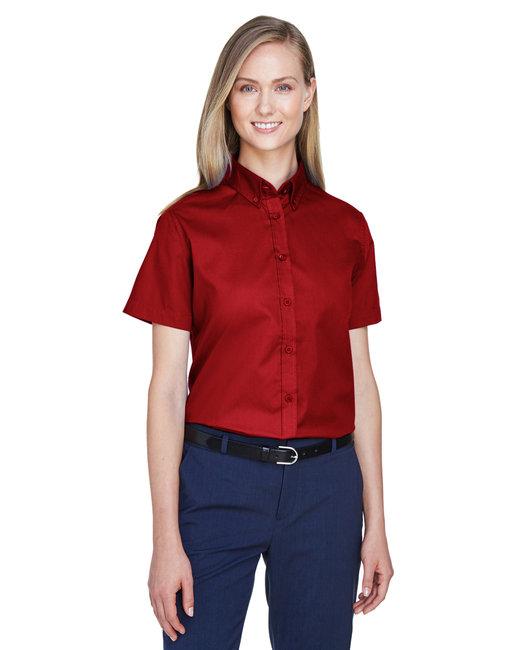 Core 365 Ladies' Optimum Short-Sleeve Twill Shirt - Classic Red