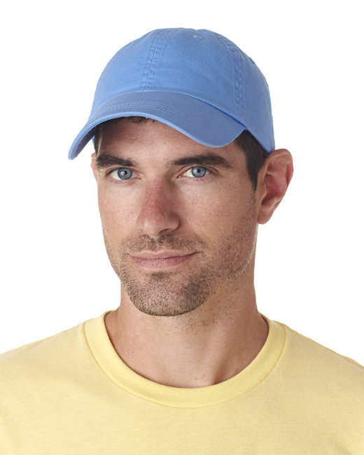 UltraClub Adult Classic Cut Chino Cotton Twill Unstructured Cap - Light Blue