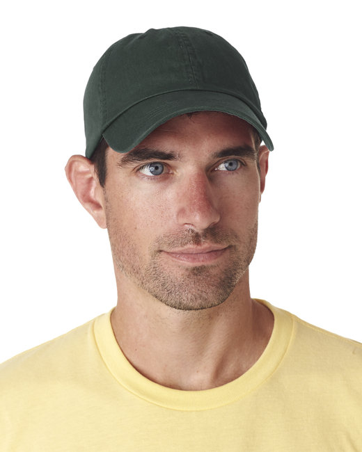 UltraClub Adult Classic Cut Chino Cotton Twill Unstructured Cap - Forest Green