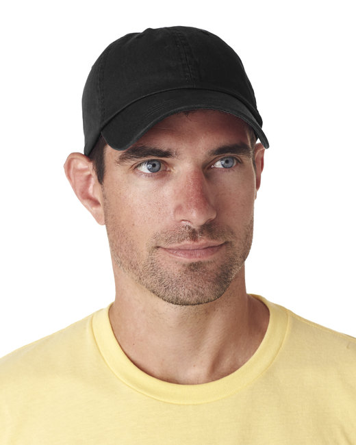 UltraClub Adult Classic Cut Chino Cotton Twill Unstructured Cap - Black
