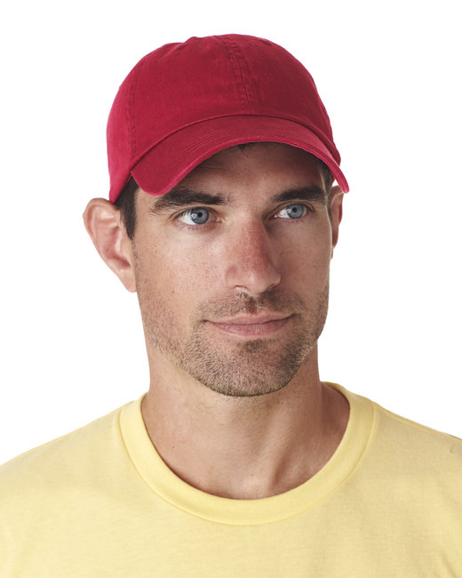 UltraClub Adult Classic Cut Chino Cotton Twill Unstructured Cap - Red