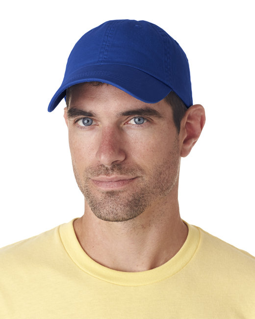 UltraClub Adult Classic Cut Chino Cotton Twill Unstructured Cap - Royal