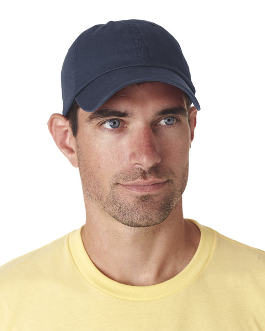 UltraClub Adult Classic Cut Chino Cotton Twill Unstructured Cap - Navy