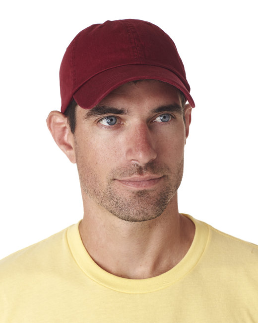 UltraClub Adult Classic Cut Chino Cotton Twill Unstructured Cap - Maroon