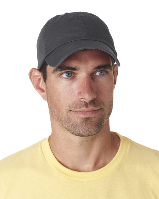 UltraClub Adult Classic Cut Chino Cotton Twill Unstructured Cap - Charcoal