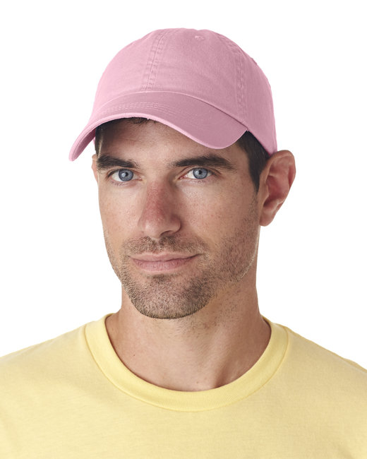 UltraClub Adult Classic Cut Chino Cotton Twill Unstructured Cap - Pink