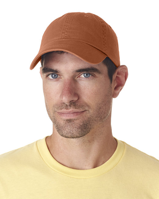 UltraClub Adult Classic Cut Chino Cotton Twill Unstructured Cap - Tangerine