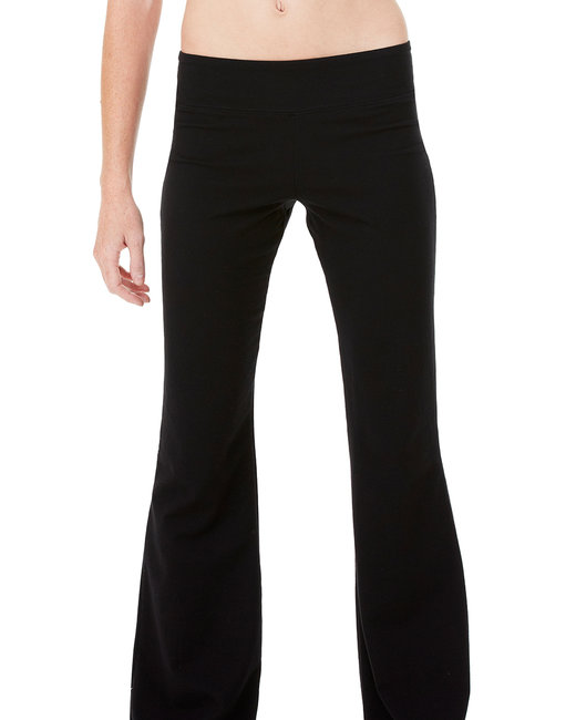 Bella + Canvas Ladies' Cotton/Spandex Fitness Pant - Black