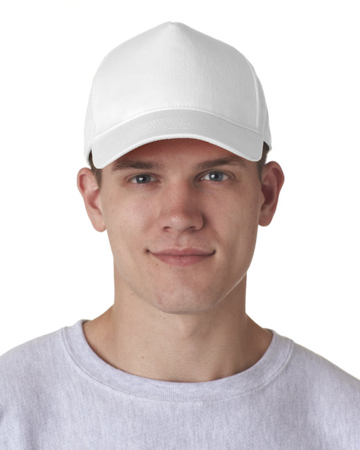 UltraClub Adult Classic Cut Cotton Twill 5-Panel Cap - White