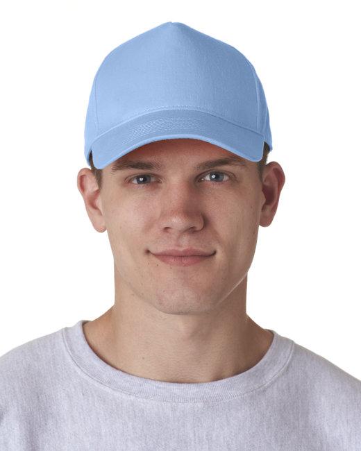 UltraClub Adult Classic Cut Cotton Twill 5-Panel Cap - Light Blue