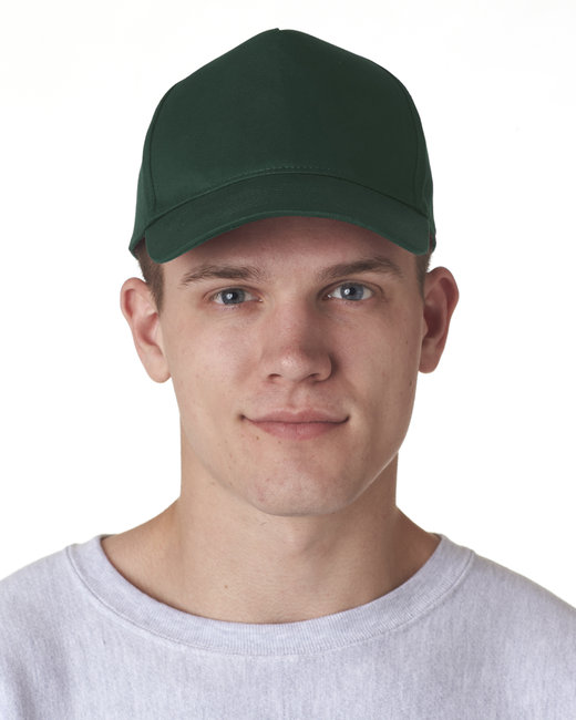 UltraClub Adult Classic Cut Cotton Twill 5-Panel Cap - Forest Green