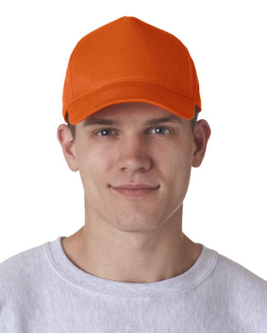 UltraClub Adult Classic Cut Cotton Twill 5-Panel Cap - Orange