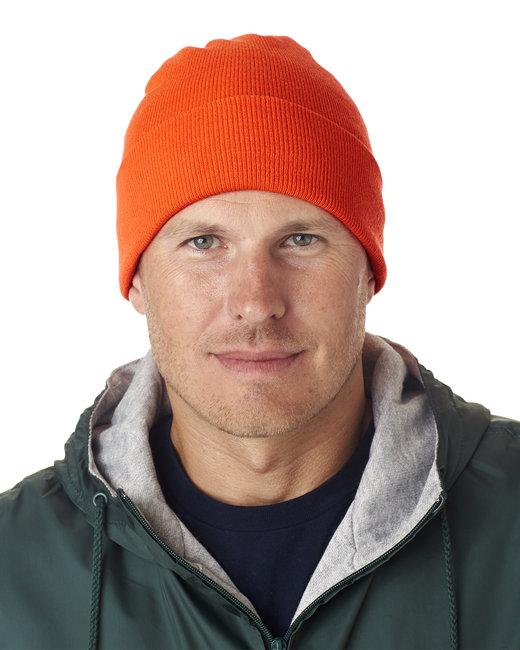 UltraClub Adult Knit Beanie with Cuff - Blaze Orange