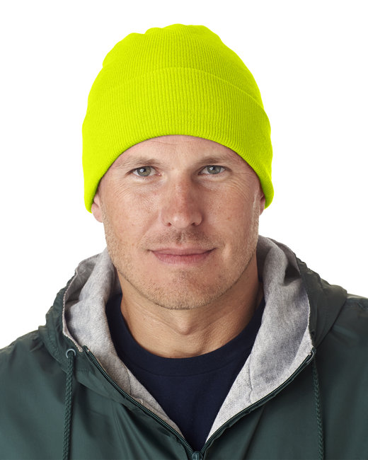 UltraClub Adult Knit Beanie with Cuff - Safety Yellow