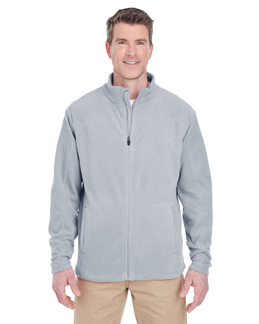 UltraClub Men's Cool & Dry Full-Zip Microfleece - Silver