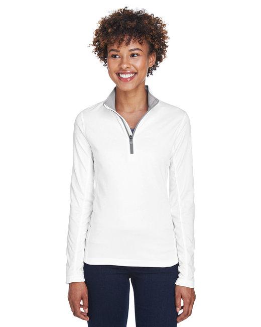 UltraClub Ladies' Cool & Dry Sport Quarter-Zip Pullover - White
